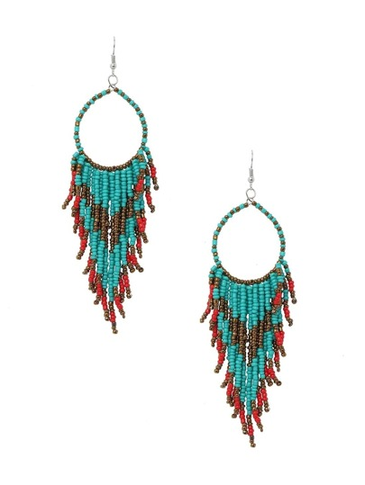Beaded Fringe Drop Earrings - Blue