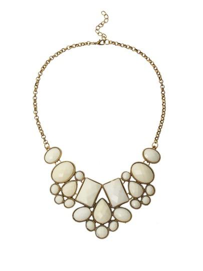Collier à chaîne avec faux pierre -blanc