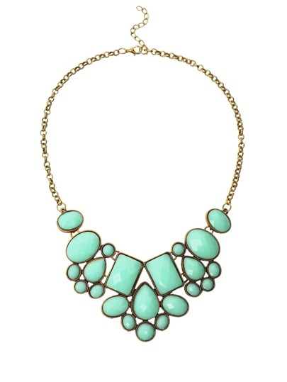 Faux Stone Bib Necklace - Mint Green