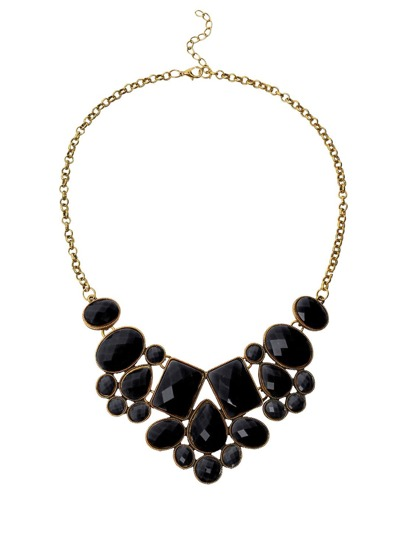 Faux Stone Bib Necklace - Black
