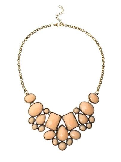 Faux Stone Bib Necklace - Pink