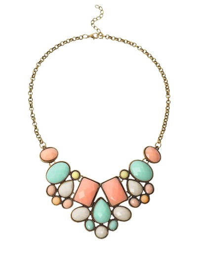 Faux Stone Bib Necklace - Multicolor