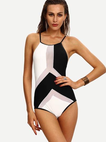 Contrast Mesh Insert Crisscross One-Piece Swimwear