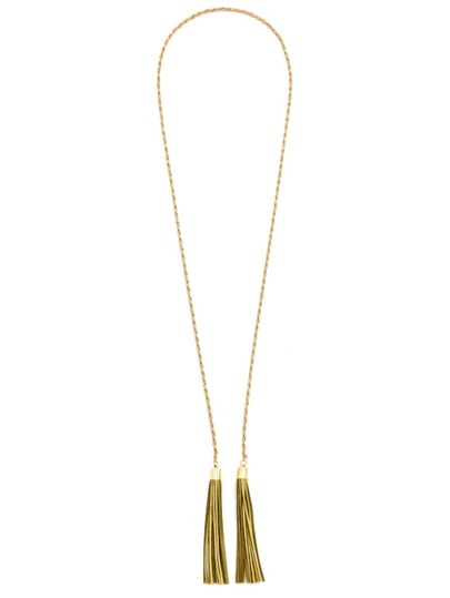 Gold Metallic Genuine Leather Fringe Waist Chain