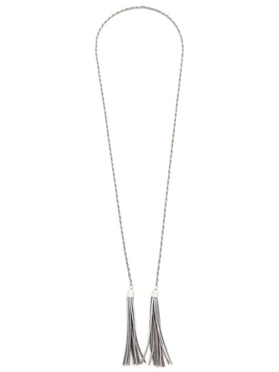 Silver Metallic Genuine Leather Fringe Waist Chain