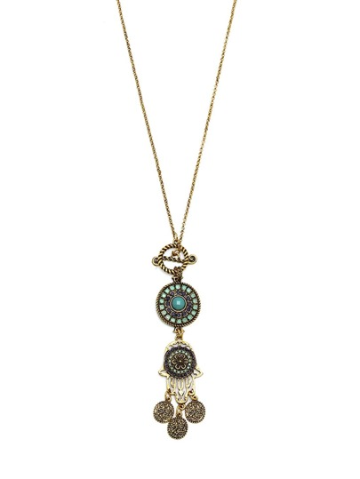 Fatima Hands Vintage Tassel Pendant Necklace