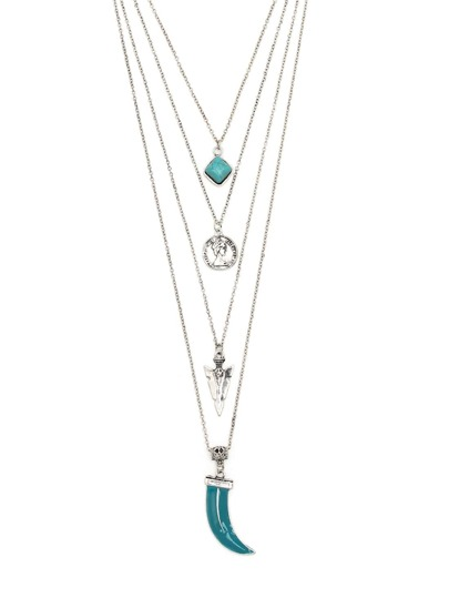 Multi-layer Geometric Shaped Turquoise Pendant Necklace