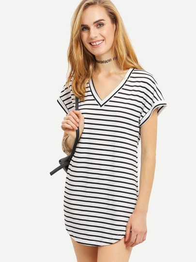 V Neck Striped T-shirt Dress