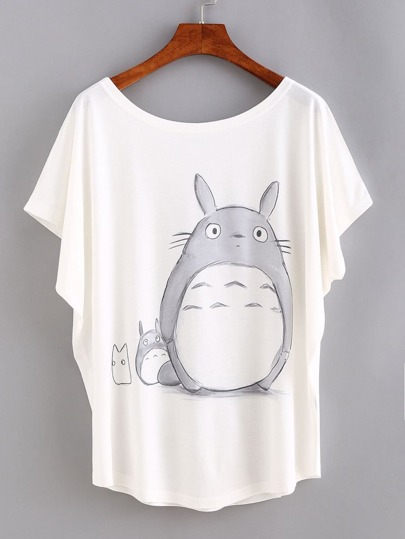 Cartoon Print Bat Sleeve T-shirt