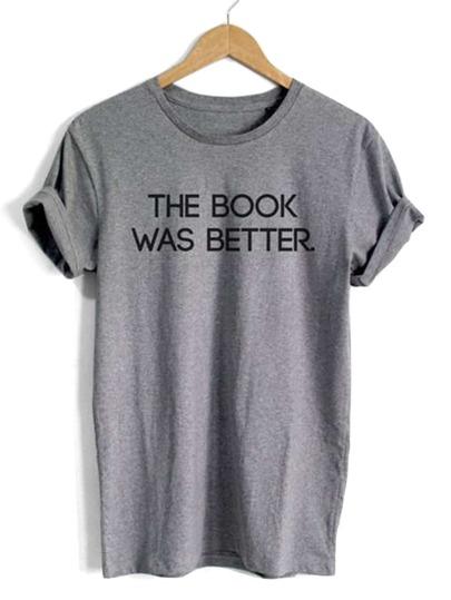 T-shirt casuale stampa lettere con maniche corte avvolte