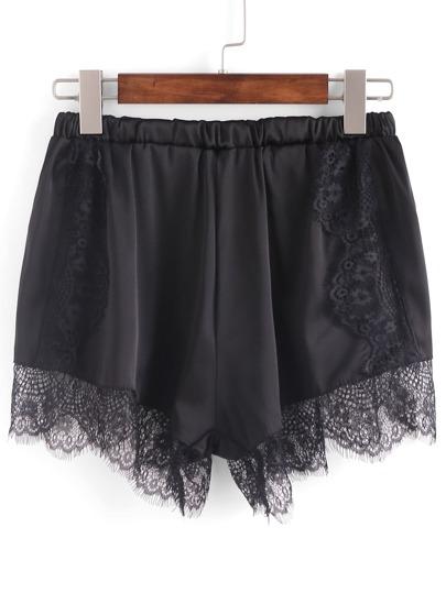 Lace Trimmed Elastic Waist Shorts