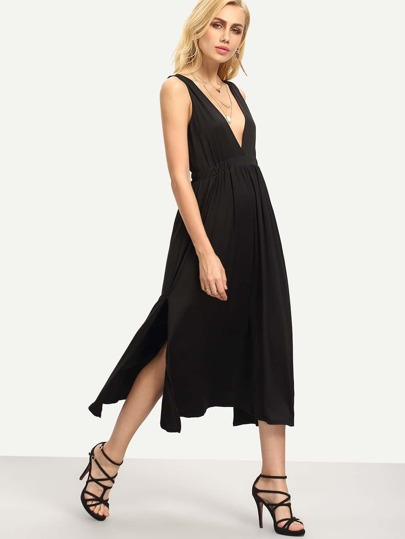 Plunge Neck Side Slit Sleeveless Dress