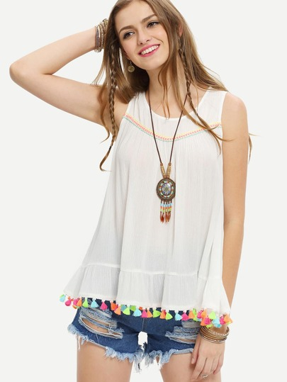 Beige Embroidered Tassel Sleeveless Blouse