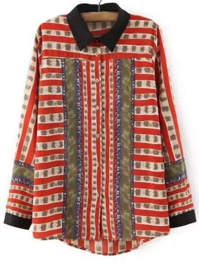 Red Long Sleeve Buttons Front Print Blouse