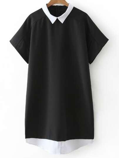 Black Short Sleeve Zipper Back Contrast Lapel Dress