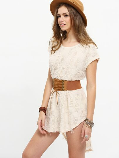 Apricot Short Sleeve High Low Dress