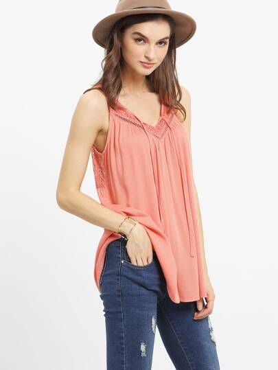Red Lace Patchwork Pleated Tank Top