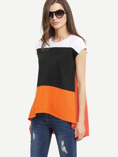 Multicolor Patchwork Cap Sleeve Dip Hem T-shirt