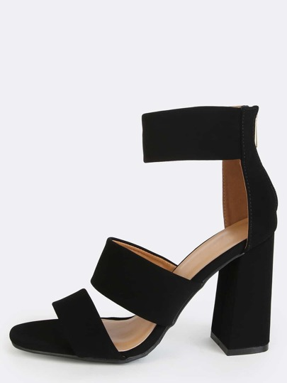 Thick Triple Strap Chunky Heels BLACK