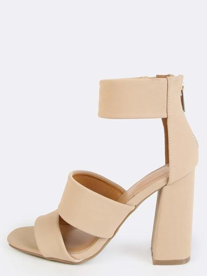 Open Toe Triple Strap Block Heels NUDE
