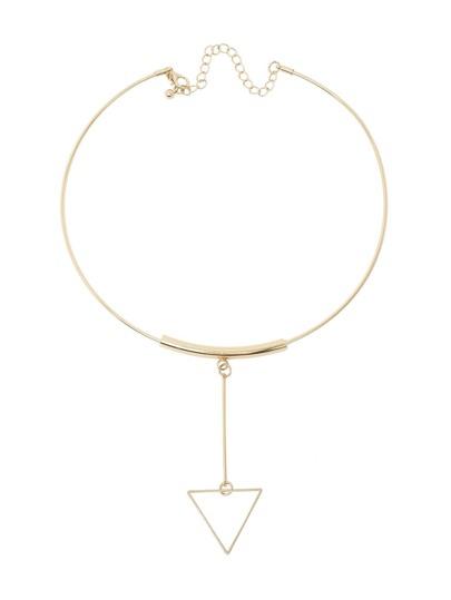 Collier court avec pendentif triangulaire -doré