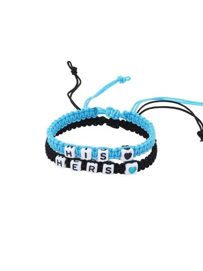 Black & Blue Beaded Braided Bracelet