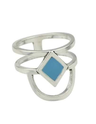 Silver Plated Enamel Ring
