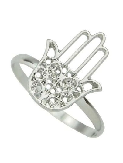 Silver Plated Hand Shape Ring