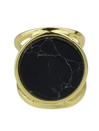 Black Plated Single Big Ring
