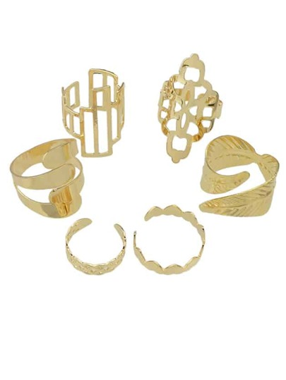 Gold Plated Metal Rings Set