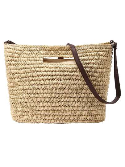 Contrast Strap Straw Tote Bag - Beige