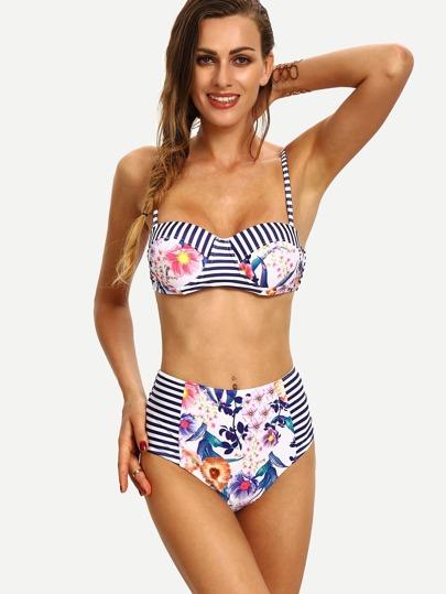 Multicolor Striped & Flower Print Bikini Set