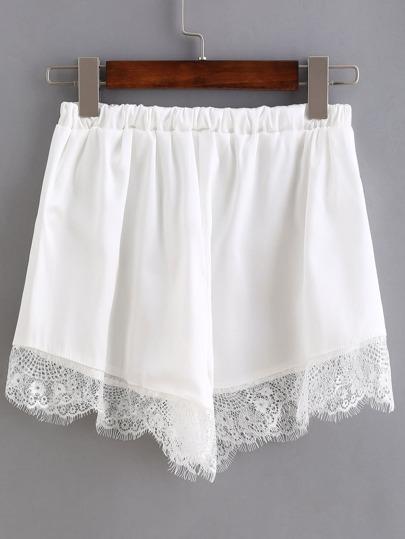 Shorts cintura elástica ribete de encaje