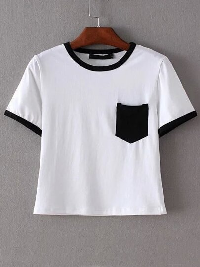 Black Trim & Pocket White Crop T-shirt