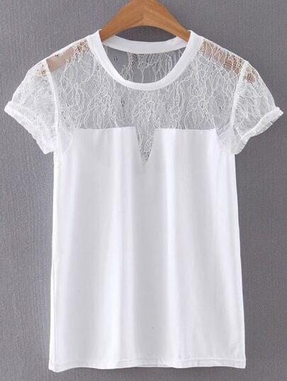 White Cap Sleeve Lace Splicing Blouse