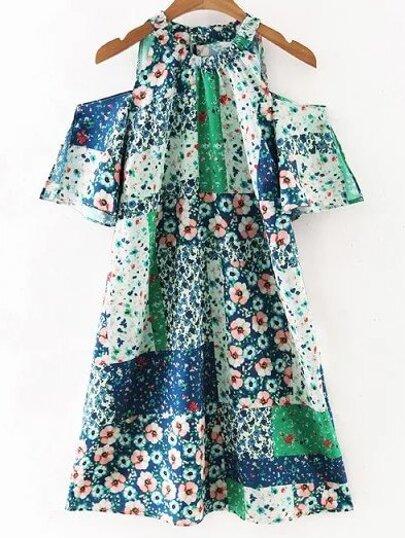 Multicolor Short Sleeve Cold Shoulder Print Dress