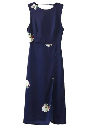 Navy Split Front Backless Flowers Print Midi Dress