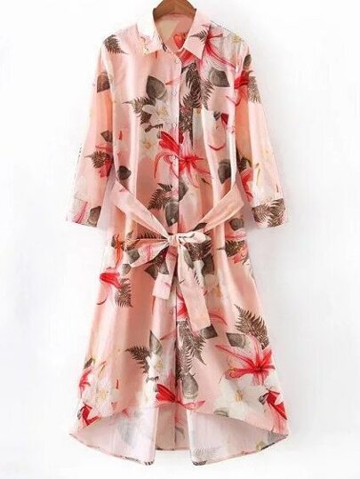 Pink Pocket Tie-Waist Bow Flowers Print Shirt Dress