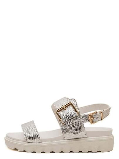 Sandales à semelle compensée bout ouvert avec boucle -argenté