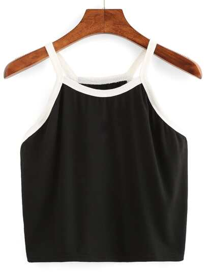 Cami Top Crop negro con dobladillo blanco