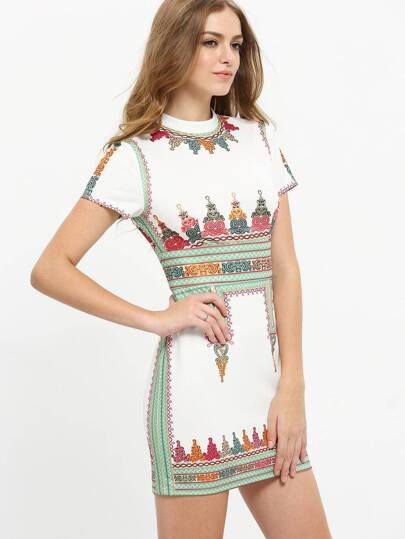 Multicolor Print Short Sleeve Crew Neck Dress