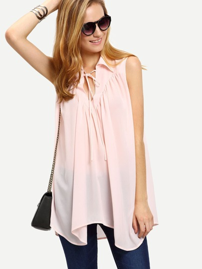 Pink Sleeveless Tie Neck Pleated Loose Blouse