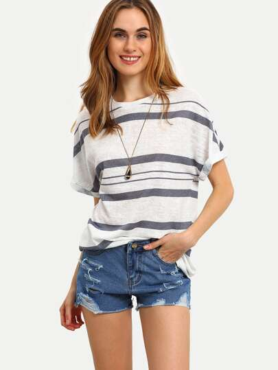 Multicolor Patchwork Striped Short Sleeve T-shirt