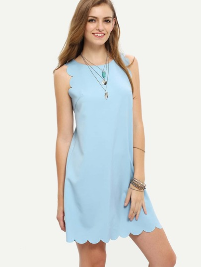 Light Blue Sleeveless Scallop Shift Dress