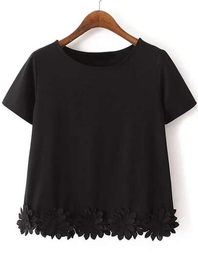 Black Short Sleeve Flowers Hem Casual T-shirt