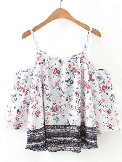 Multicolor Open Shoulder Floral Print Spaghetti Strap Blouse
