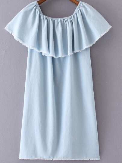Light Blue Ruffle Boat Neck Fringe Denim Dress