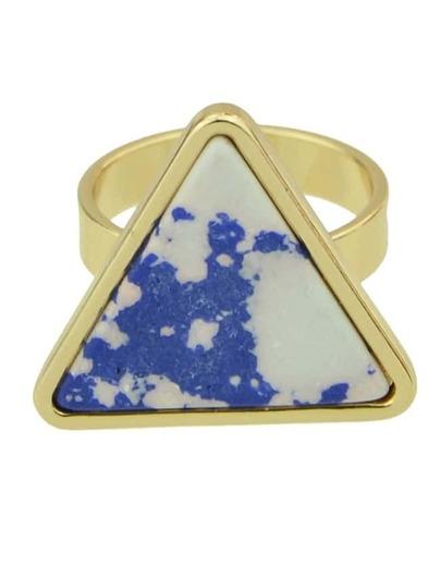Bluewhite Turquoise Triangle Shape Ring