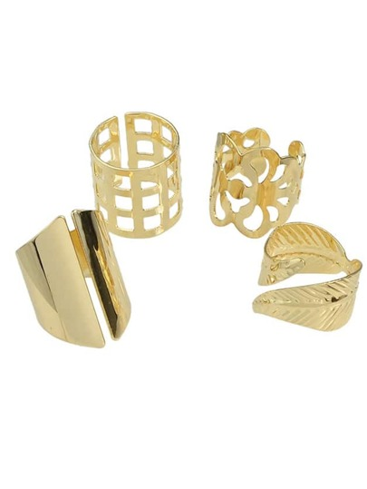 Gold 4 Pcs Cuff Metal Rings