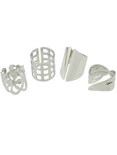 Silver 4 Pcs Cuff Metal Rings